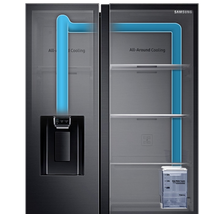 Samsung Side by Side Refrigerator (617L, RS64R5304B4S) with Non-plumbing Dispenser