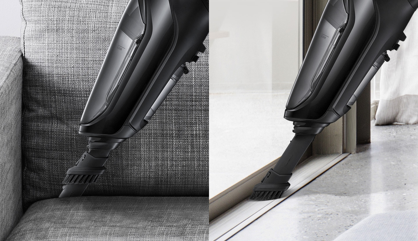 Samsung Extreme suction power POWERstick vacuum cleaner – an image showing built-in accessories, a crevice tool and a brush tool for cleaning gaps