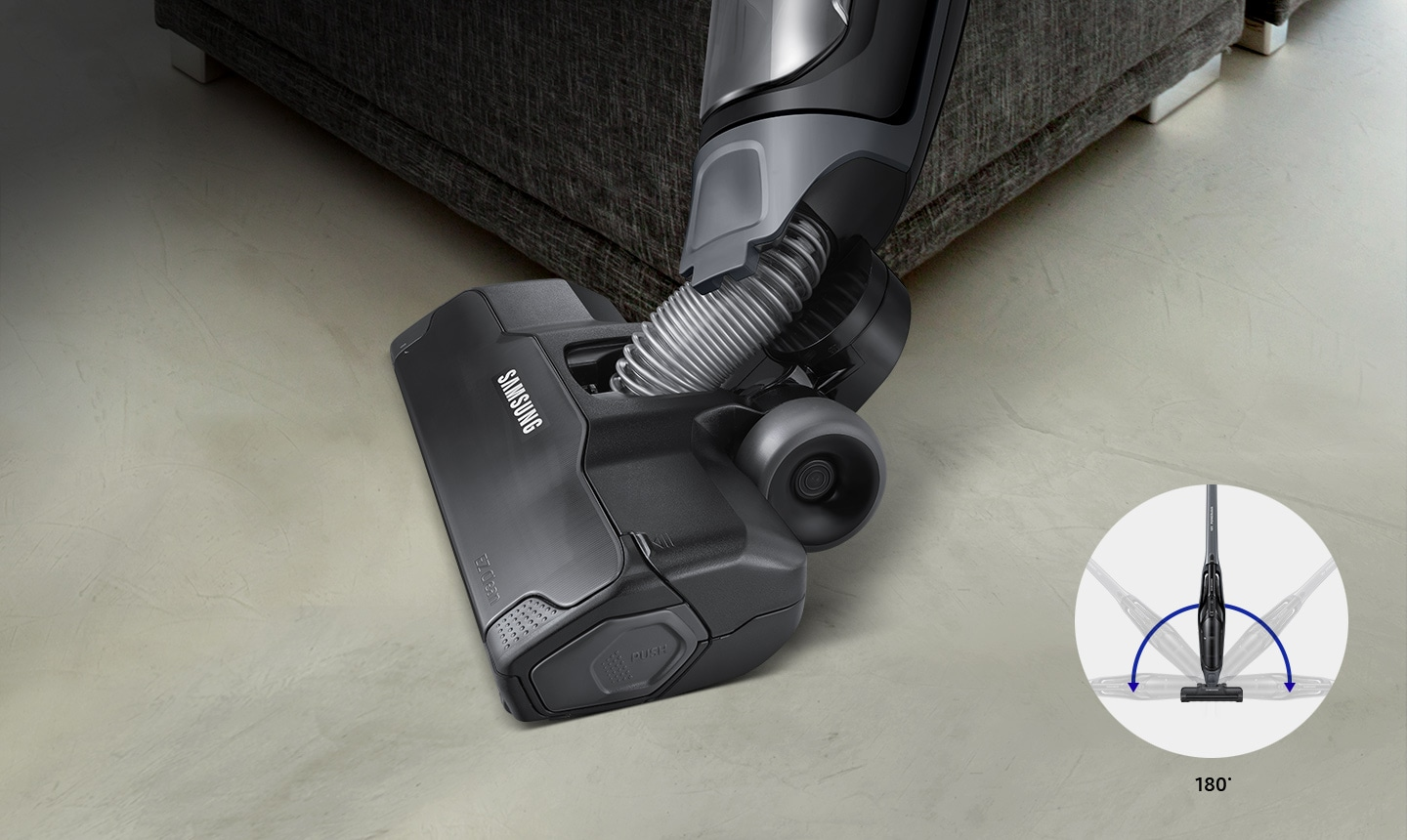 Samsung Extreme suction power POWERstick vacuum cleaner – an image of easy handling and agile turning for an extra easy movement