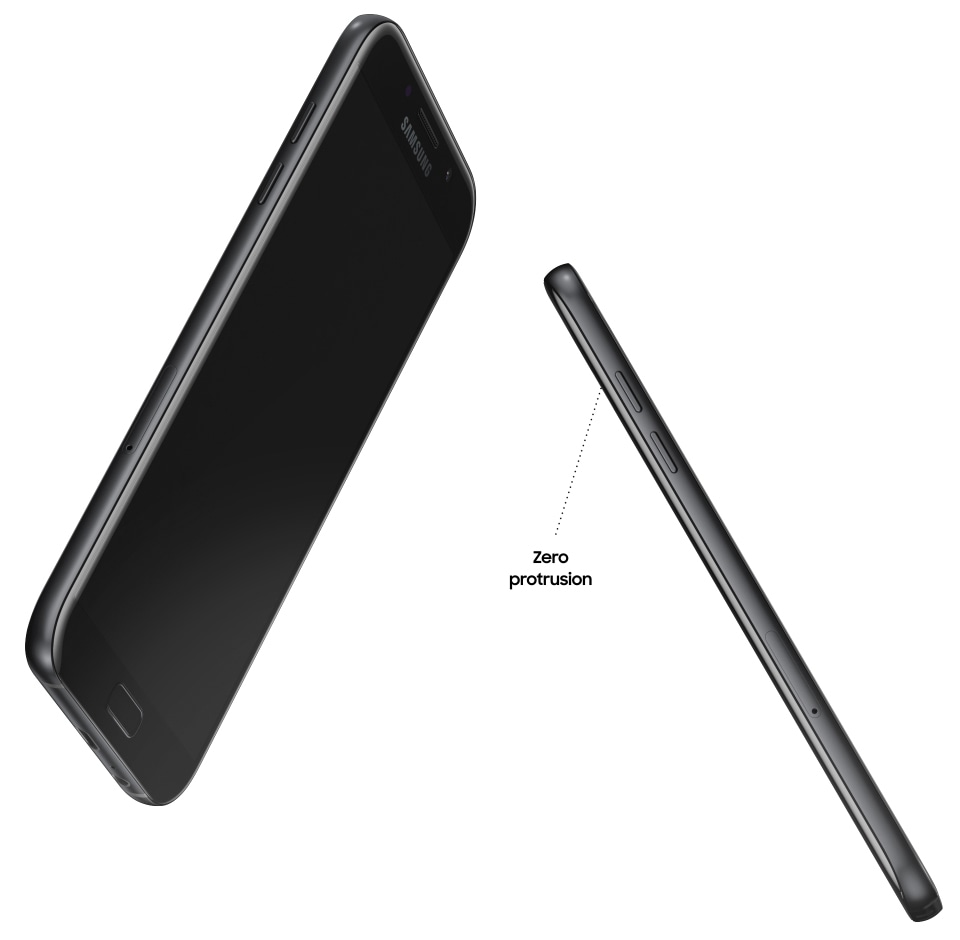 Front and side view of the Galaxy A7 (2017) to highlight its uniform design with zero protrusion.