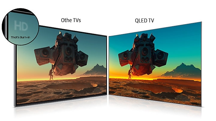 Samsung QLED Q7F 4K Smart TV - no burn-in compared to other TVs