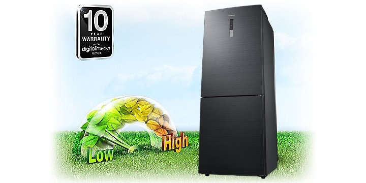Samsung Digital Inverter Bottom Freezer Fridge – an image showing 10-year warranty for Digital Inverter compressor with guaranteed durability