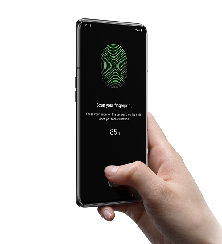 Samsung Galaxy A80 with on-screen fingerprint sensor