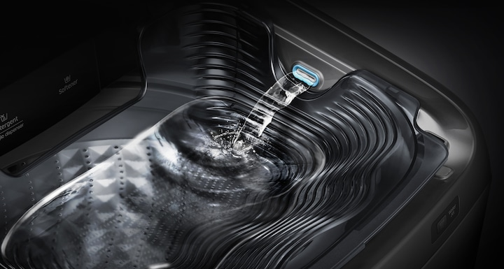 Samsung Active Dual Wash Top Load – an image showing how water coming out on the built-in sink