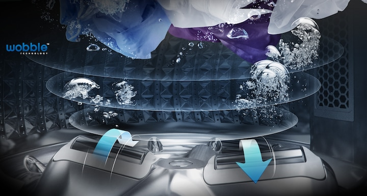 Samsung Active Dual Wash Top Load – an image showing wobble technology with pulsators generating dynamic washing flow