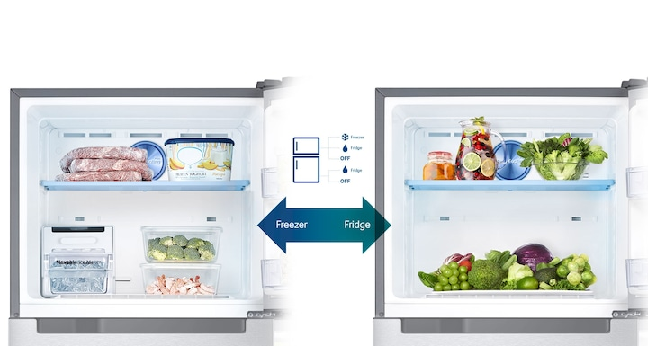 Samsung Twin Cooling Plus Top Freezer Fridge – an image showing 4 possible Conversion Modes for flexible storage