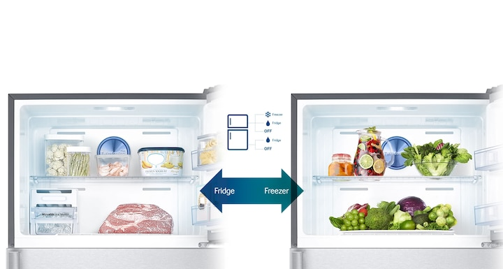 Samsung Twin Cooling Plus Top Freezer Fridge – an image showing 5 possible Conversion Modes for flexible storage