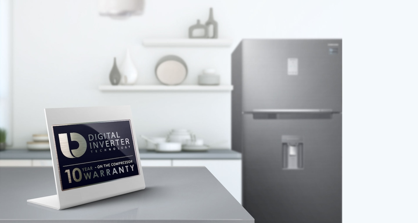 Samsung Twin Cooling Plus Top Freezer Fridge – an image showing 10-year warranty for Digital Inverter compressor with guaranteed durability