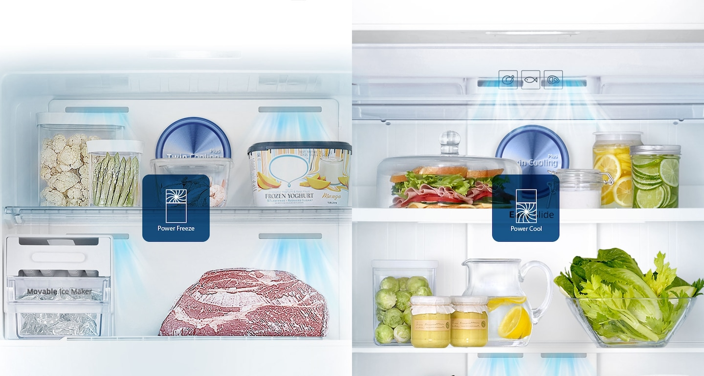 Samsung Twin Cooling Plus Top Freezer Fridge – an image showing Power Cool feature that creates ice and chills beverages rapidly