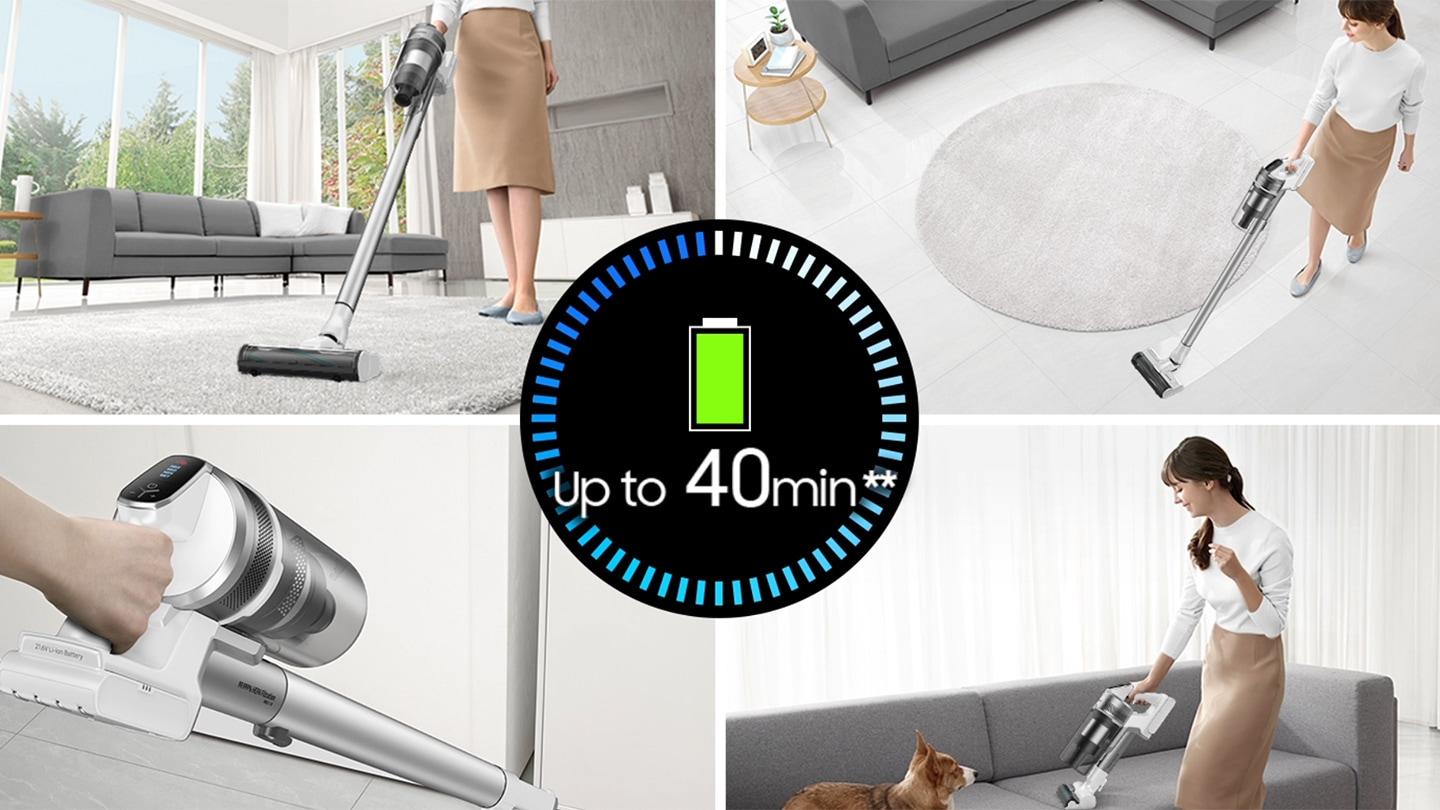 Non-stop cleaning of up to 40 minutes2