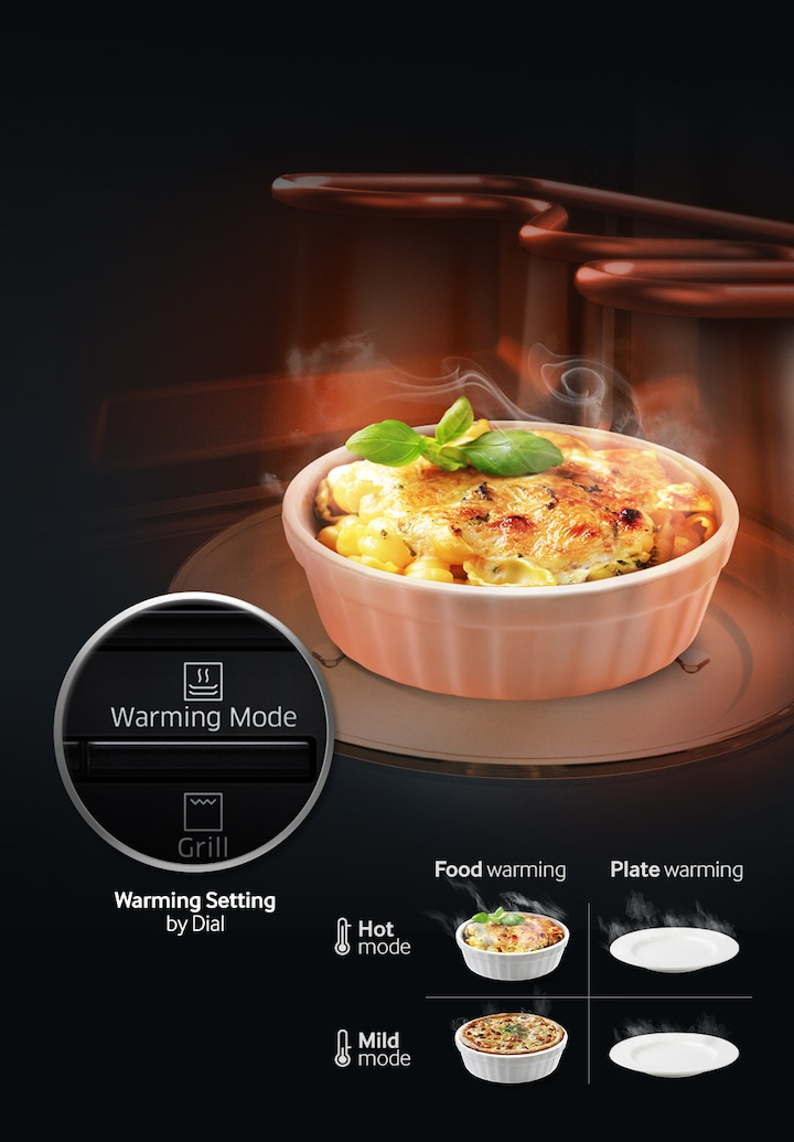 Samsung Ceramic Enamel Grill Microwave – an image of Food Warming function with hot and mild mode