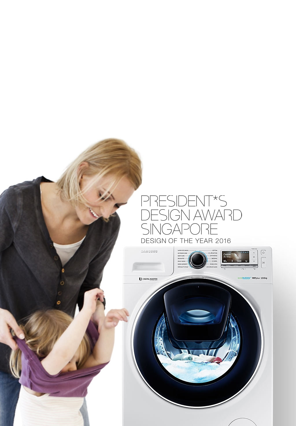 Addwash 12kg front load 3 ticks ww12k8412owfq samsung an image of a woman taking off her childs clothes next to a ww8500 washing machine solutioingenieria