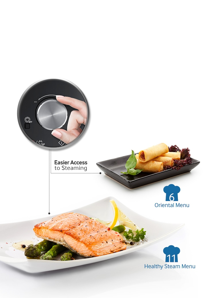 Samsung Ceramic Enamel Grill Microwave – an image showing user can choose a wide range of steam cooking program