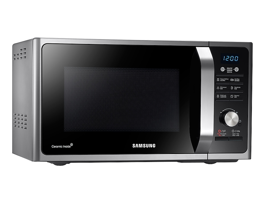 Samsung Solo Microwave MS23F302TAK Left 15 Angle Silver