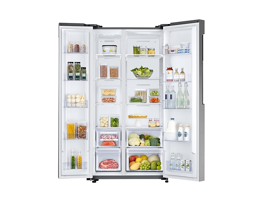Samsung Side by Side Refrigerator – Interior View More Space to Store More Food