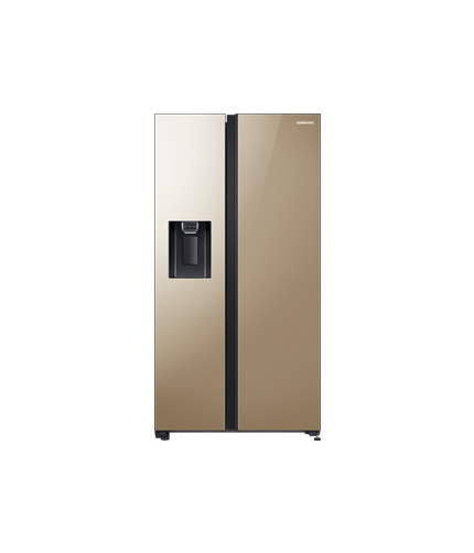Samsung Side by Side Refrigerators front gold