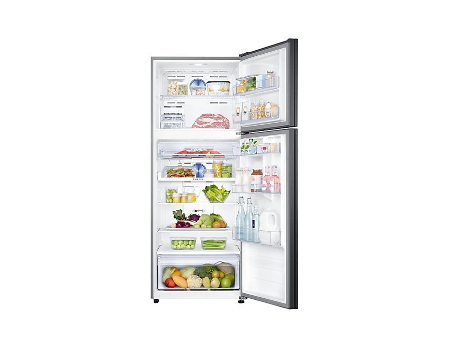 Refrigerator – Twin Cooling Plus™, 460L, Top Freezer, 3 Ticks  front-open-with-food jet black