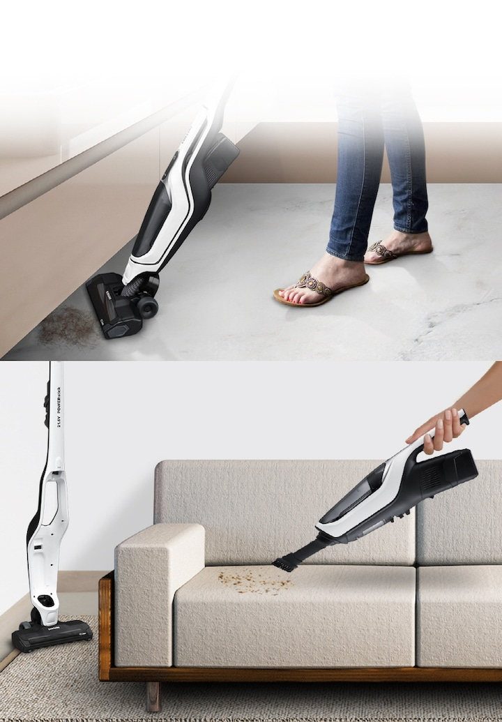 2-in-1 flexible cleaning for more areas