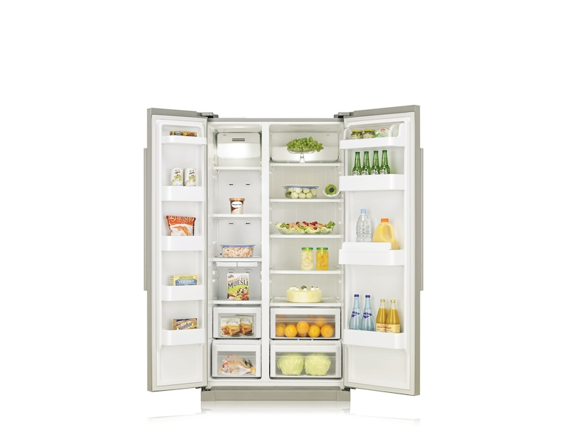 A-Series American Style Fridge Freezer Silver Front Open