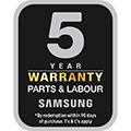 5 year warranty on parts and labour*