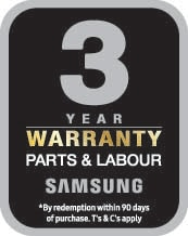 3 year warranty on parts and labour*