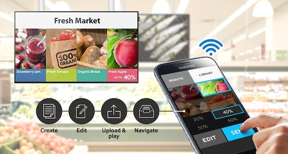 Manage digital signage wirelessly, virtually anywhere, anytime on a mobile device with an easy-to-use application
