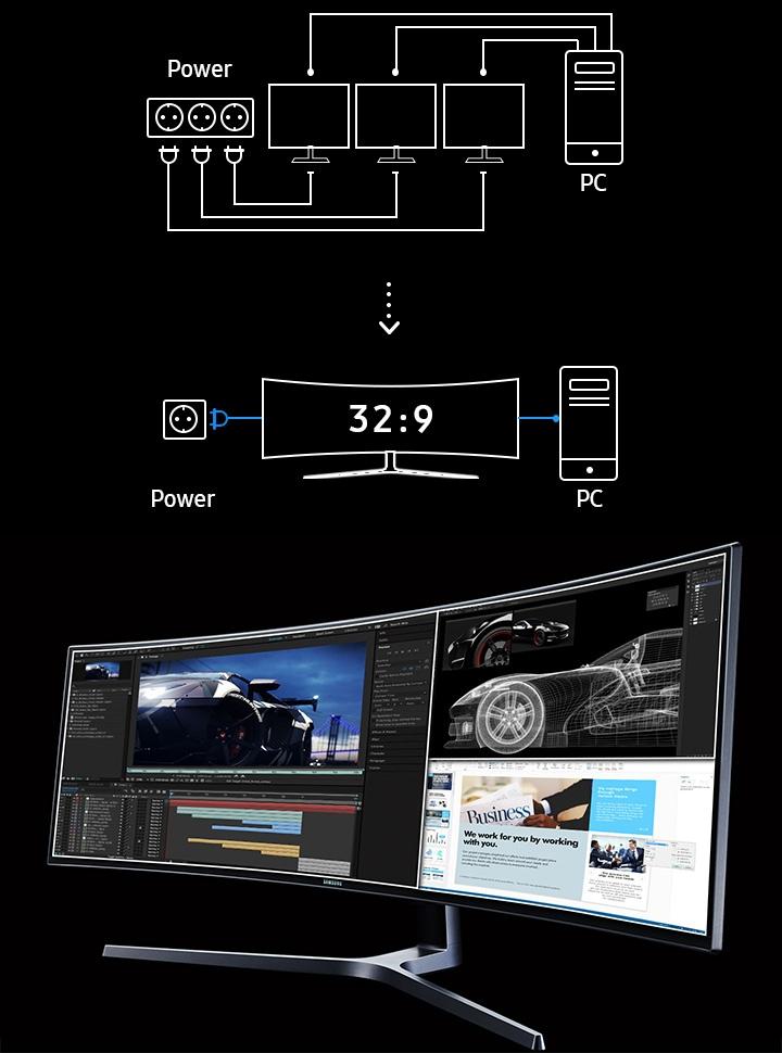 49 Inch Ultrawide QLED Curved Gaming Monitor C49HG90DMU | Samsung UK