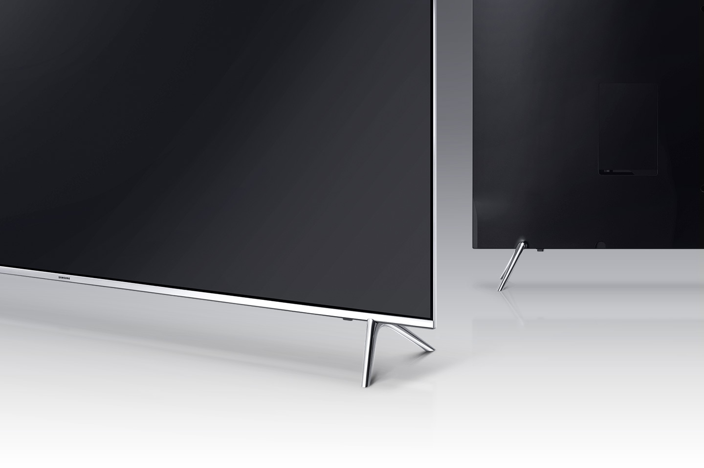 A back angle image of Samsung SUHD TV's T-stand.