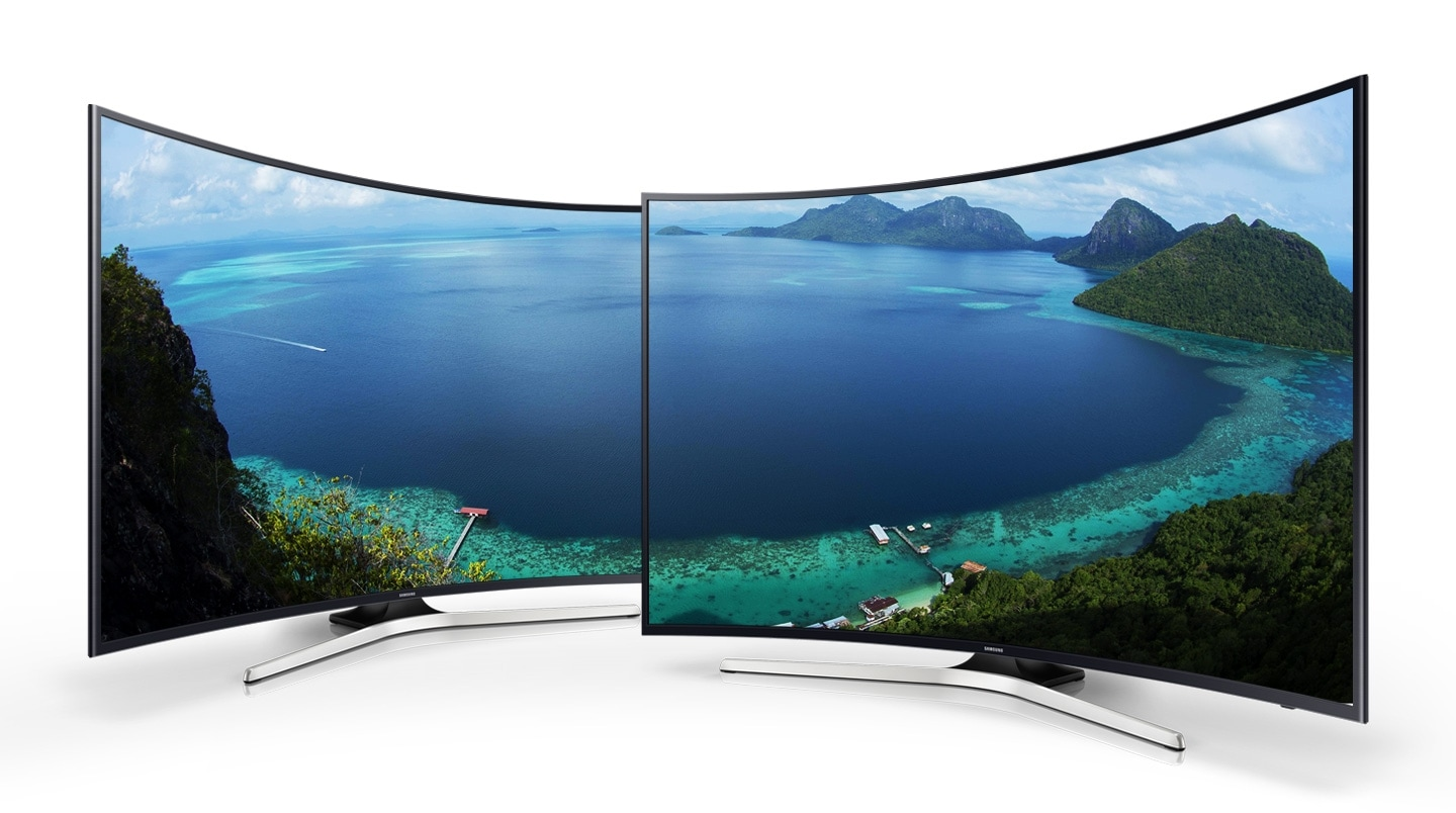 Two curved Samsung TV with beautiful land scape onscreen image.