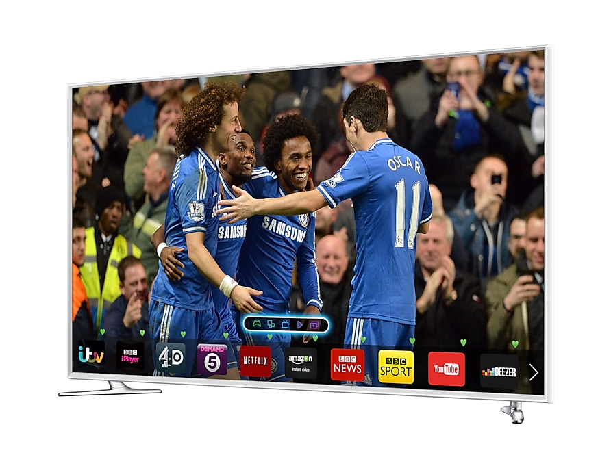 "32"" Smart 3D Full HD LED TV Side Perspective White"