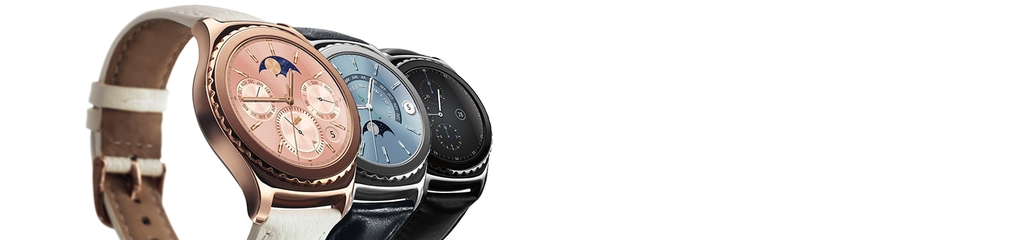 Samsung Gear S2 with White, Blue and Black Straps