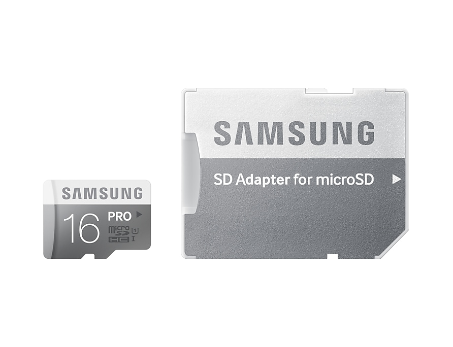 Micro SDHC Pro Memory Card with SD Adaptor (16GB) Front