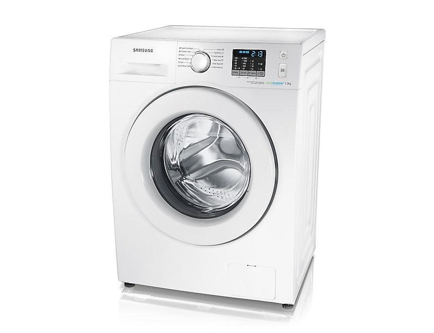 7kg 1200rpm ecobubble™ Washing Machine Right Perspective White