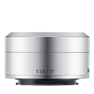YN17ZZZA 17mm f1.8 Prime Lens for NX mini Front Silver