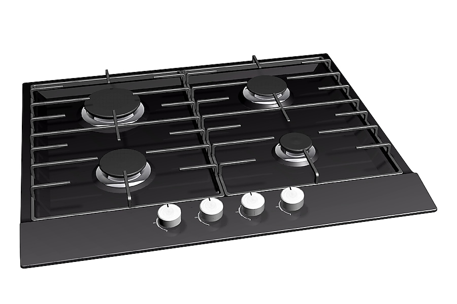 GN642FFBD 4 Burner Gas Hob Left Angle Black