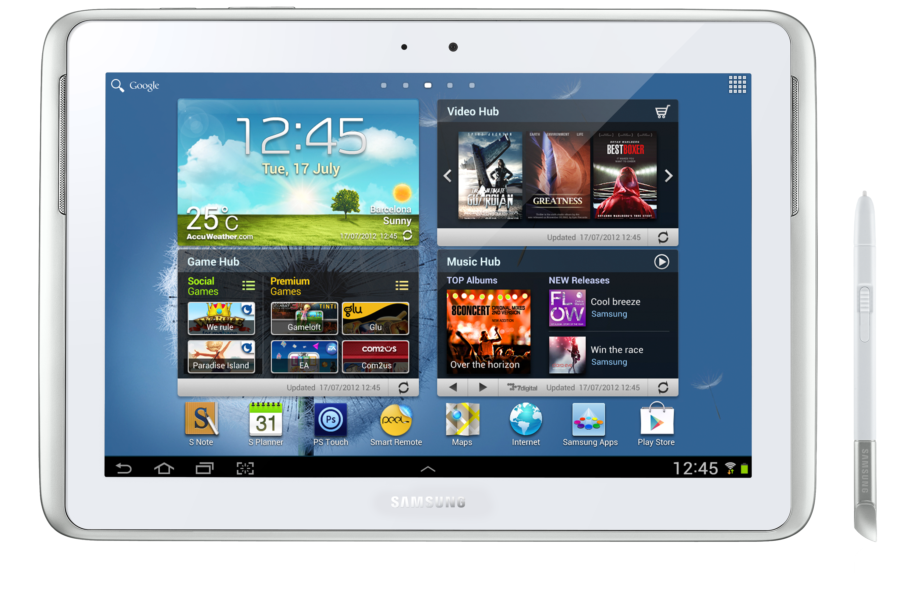 GT-N8000 Galaxy Note 10.1 3G & Wi-Fi (White) Front