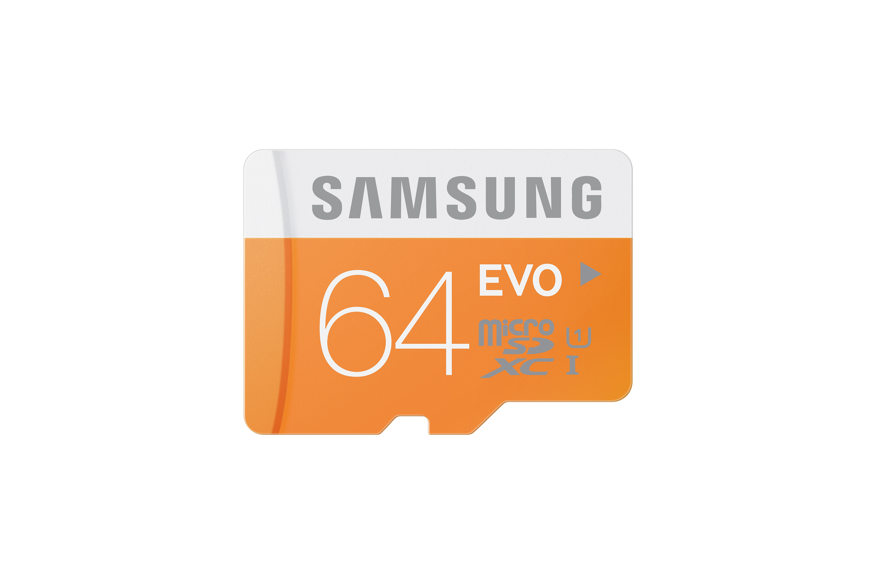 MB-MP64D Micro SDXC EVO Memory Card with USB Reader (64GB) Front Orange