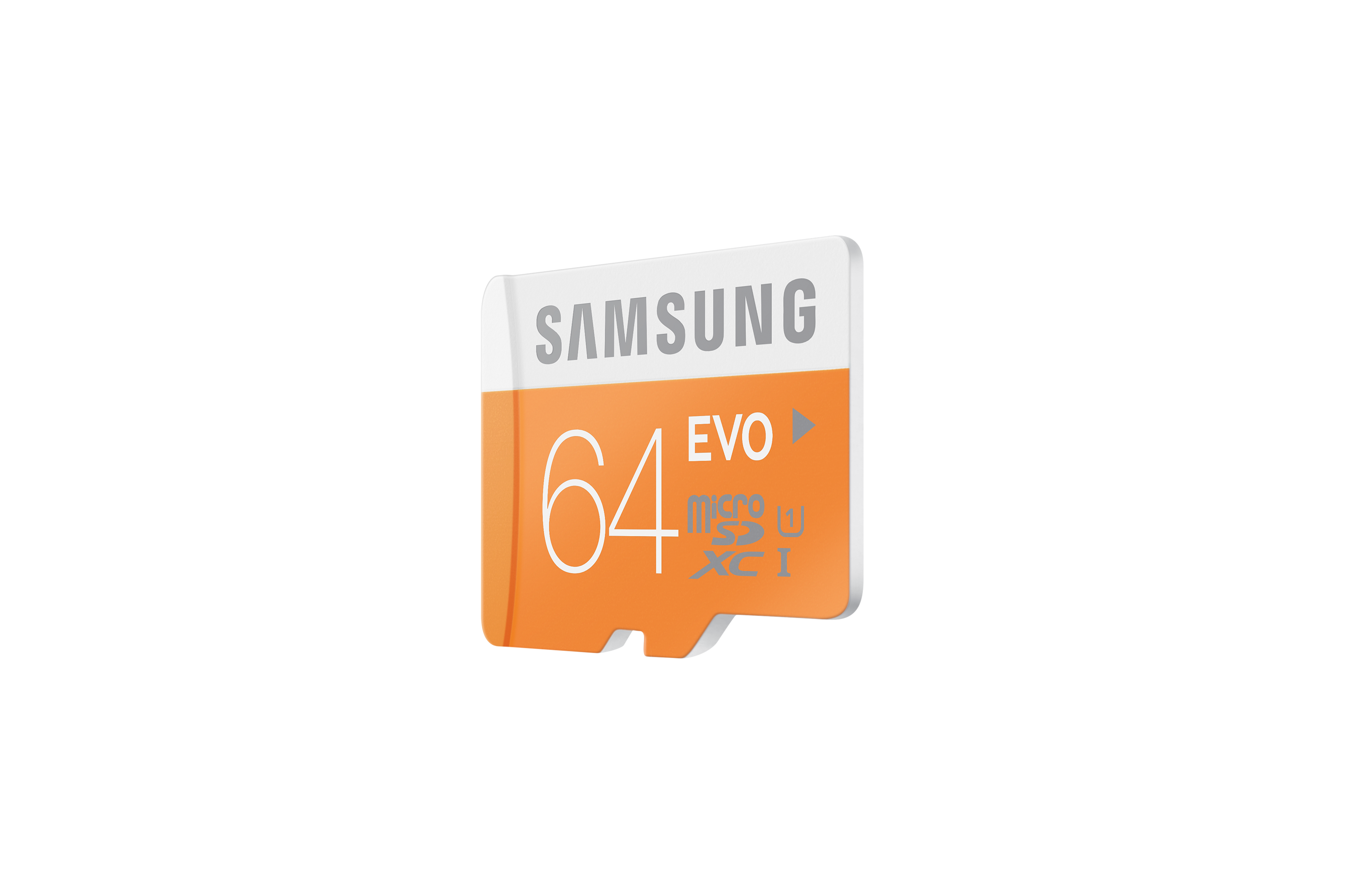 MB-MP64D Micro SDXC EVO Memory Card with USB Reader (64GB) R Perspective Orange