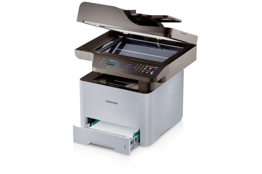 ProXPress M4070 40ppm Black & White Laser Multifunction Printer M4070FR Right Angle Open White