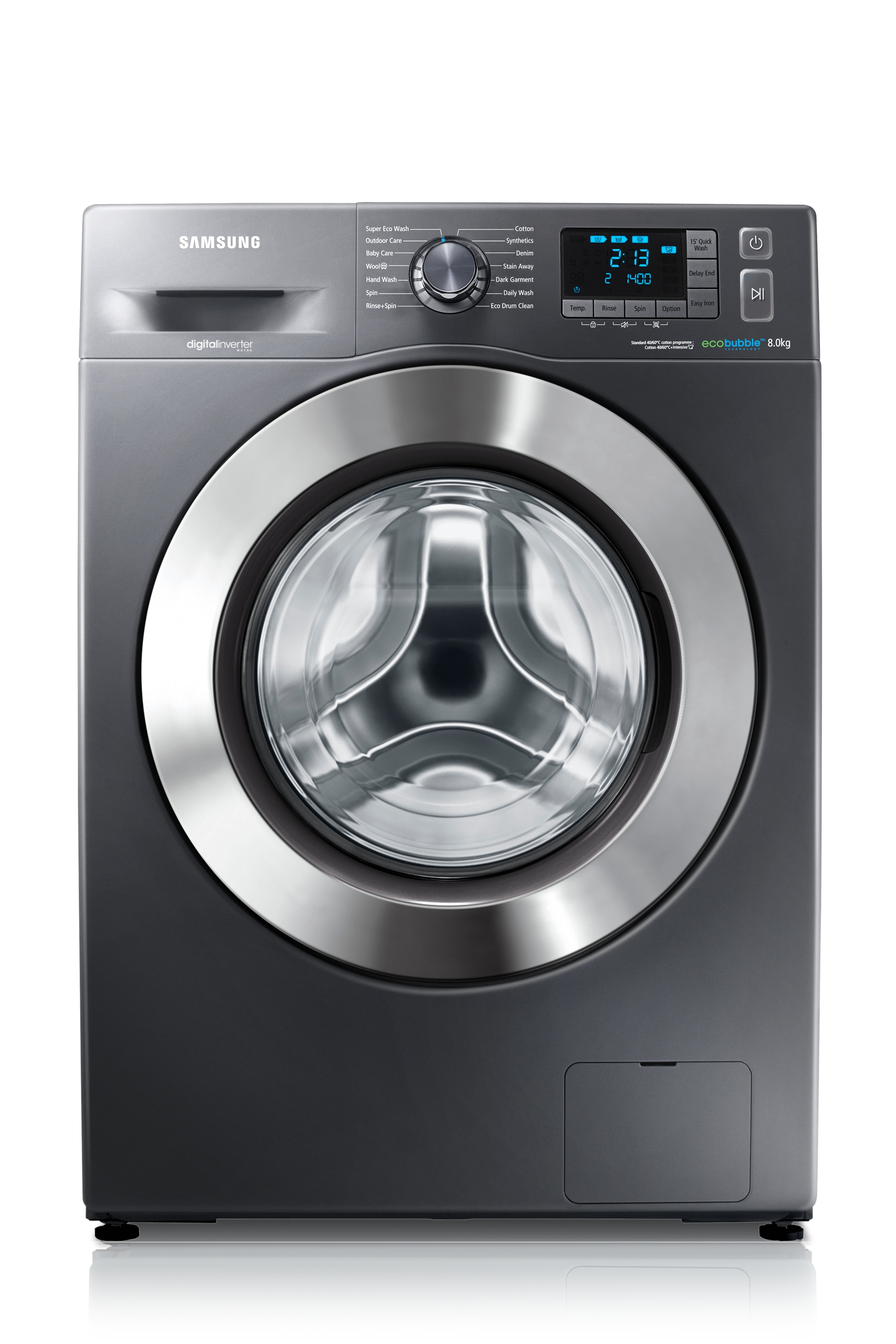 WF80F5E5U4X/EU 8kg 1400rpm ecobubble™ Washing Machine Front2 Grey