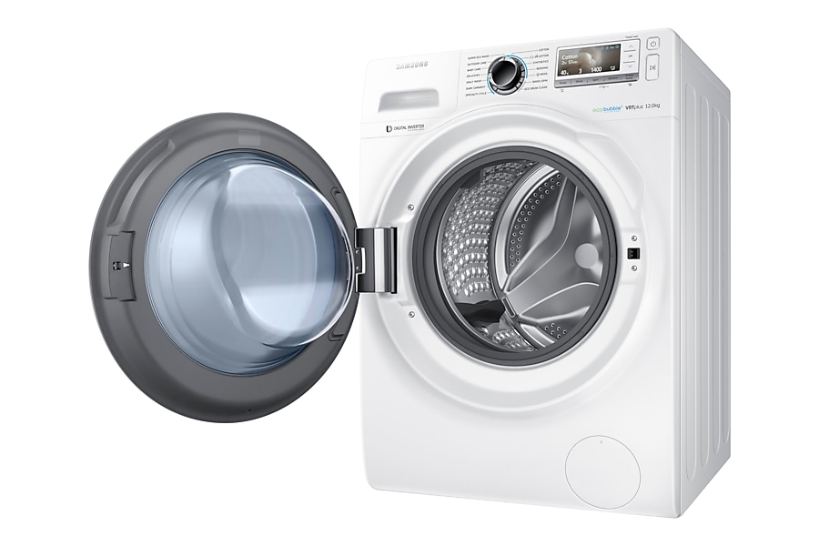 WW12H8420EW/EU 12kg ecobubble™ Washing Machine R Perspective Open White