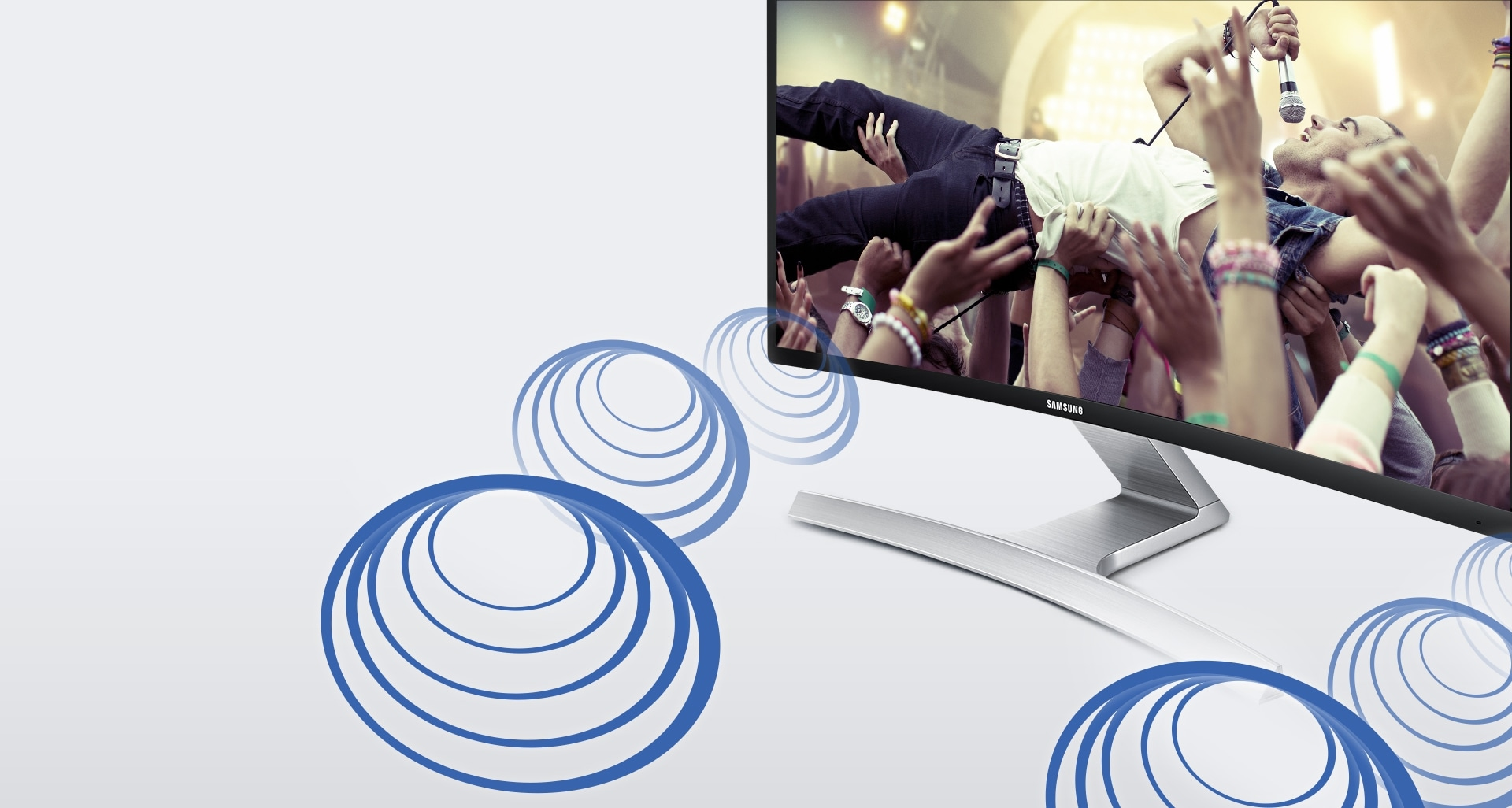 Entertainment content comes alive with stereo speakers built right into the curved screen