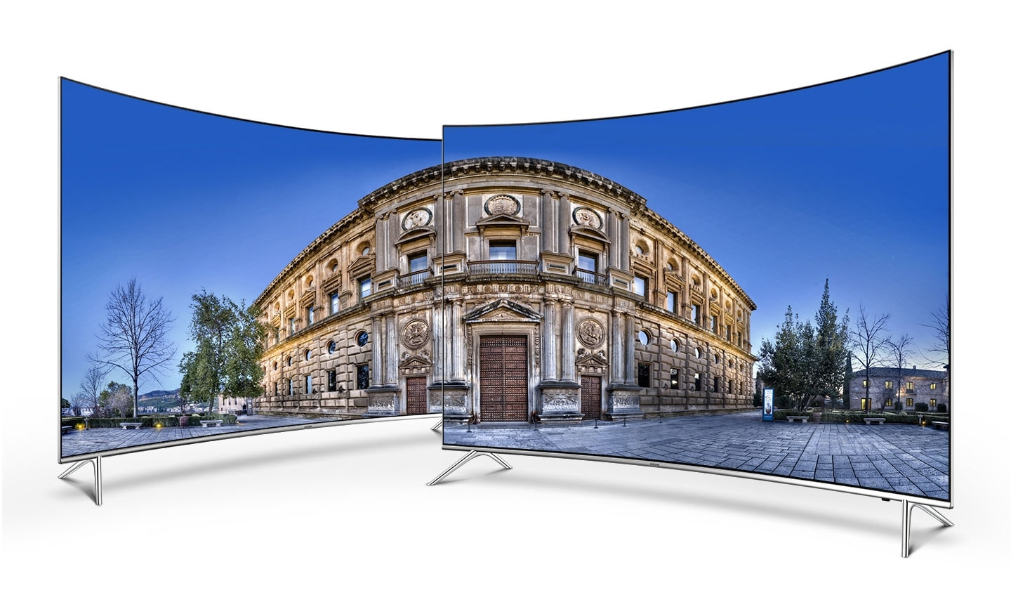 Two curved Samsung TV with beautiful aurora onscreen image