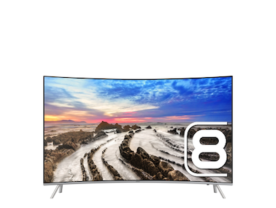 "Samsung 65"" MU8500 Curved 4K Premium UHD TV : Front One Silver"