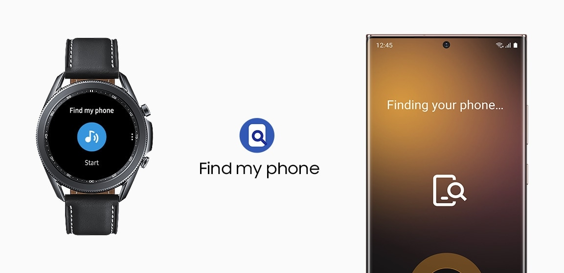 45mm Galaxy Watch3 in Mystic Black is connected to a Galaxy smartphone showing Find my phone GUI.