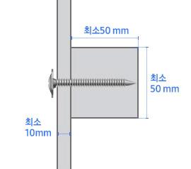 벽 두께 최소 10 mm, 보강목 가로 최소 50 mm, 세로 최소 50 mm
