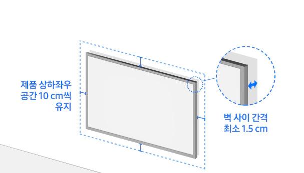 제품 상하좌우 공간 10 cm씩 유지. 벽 사이 간격 최소 1.5 cm