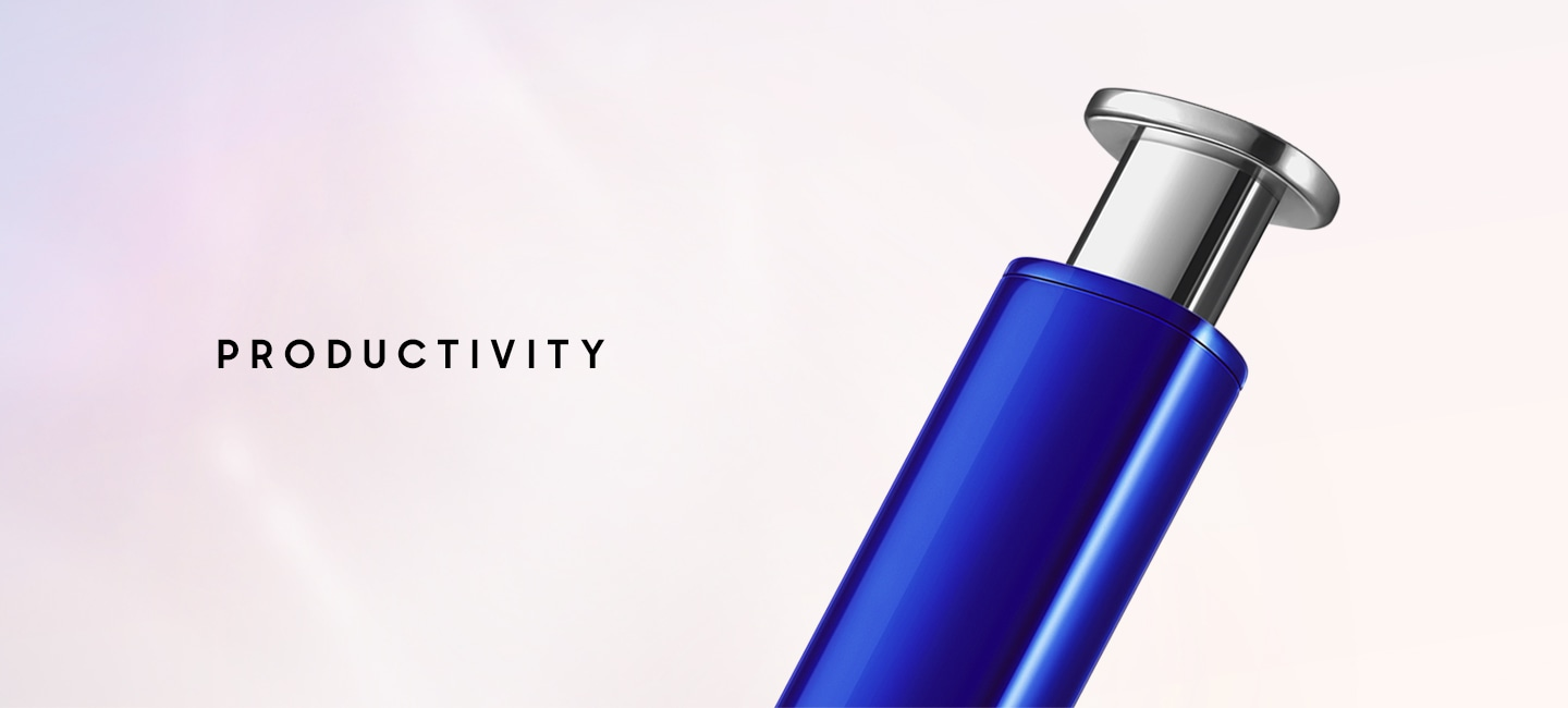 Close up of the top of blue S Pen, showing the silver click-top.