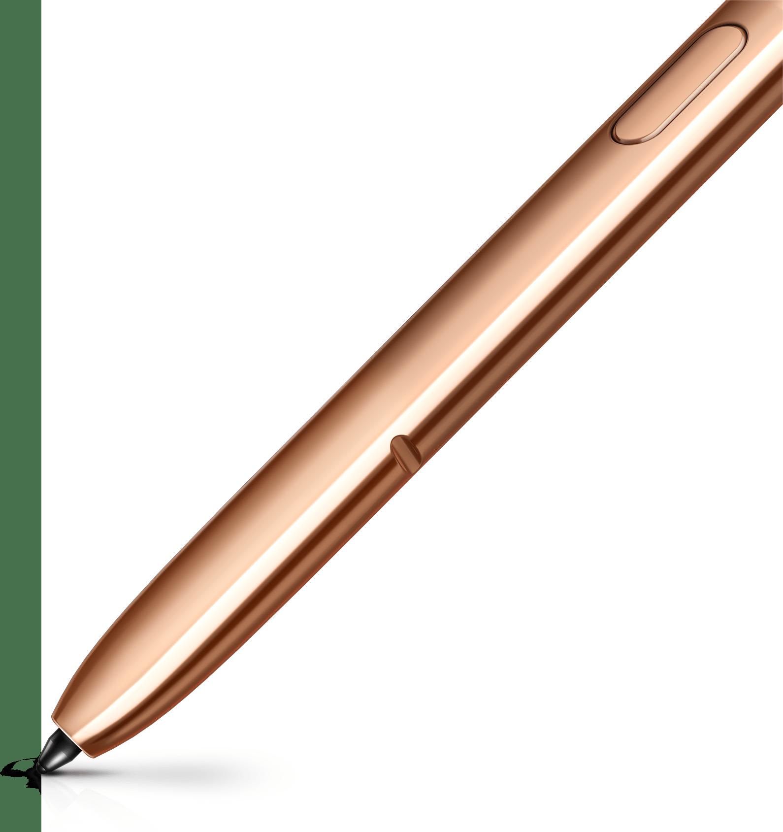Primerísimo primer plano de la parte inferior del SPen de bronce que muestra la punta. Se ve un trazo de bronce que sale de la punta.