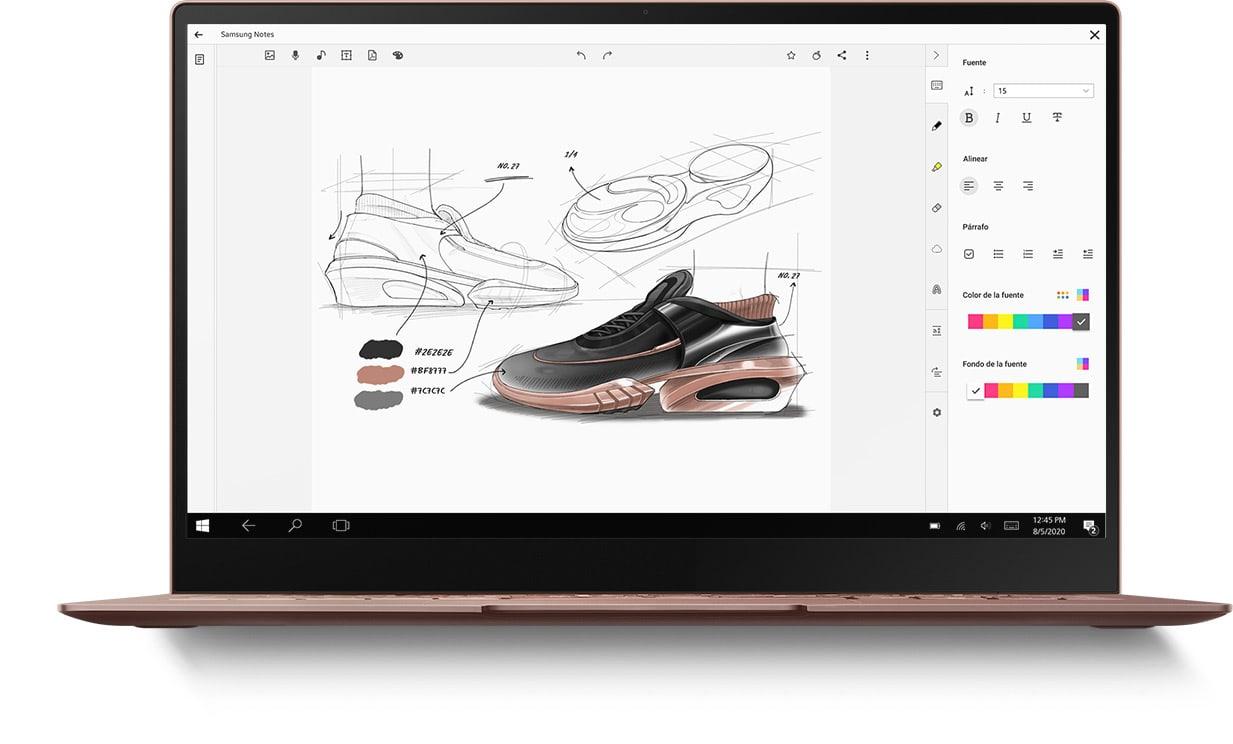 Computadora portátil con la aplicación SamsungNotes en la pantalla y un dibujo de un zapato como se ve en el GalaxyNote20Ultra y en la tableta.